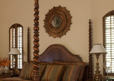 photo of Hacienda master bedroom, design by Gardner & Associates
