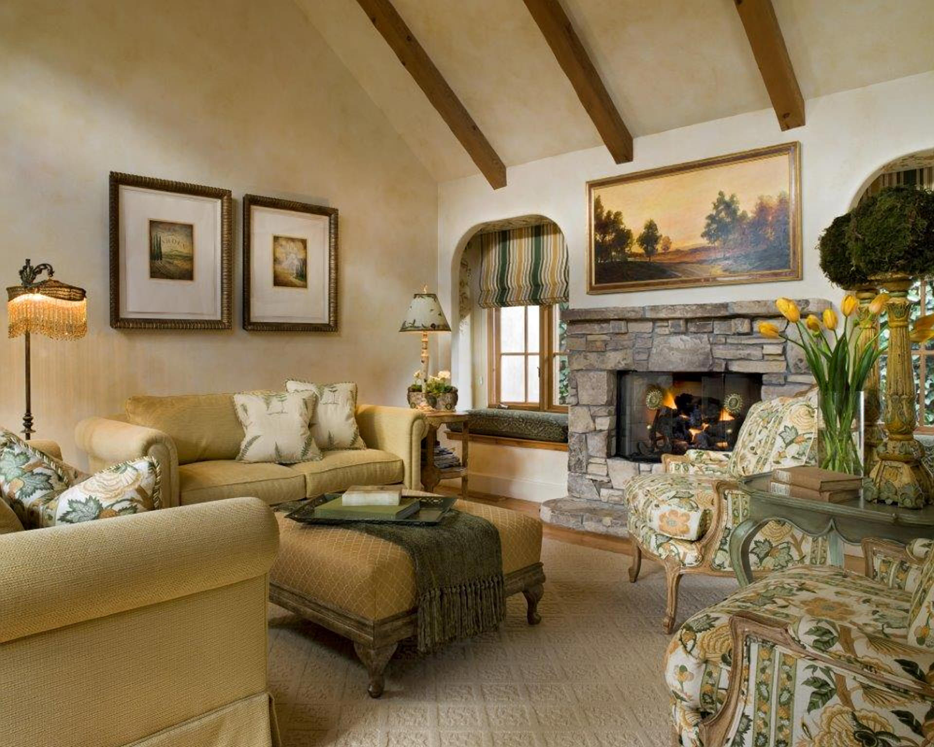 Carmel French Cottage, Living Room, design by Gardner & Associates